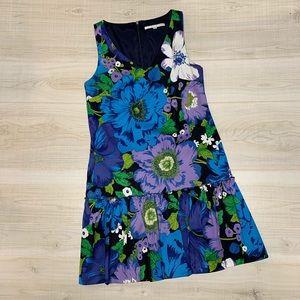 Trina Turk blue floral dropped waist dress